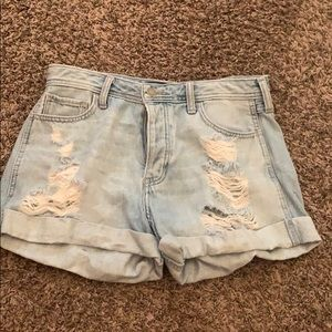 hollister washed out color denim high rise shorts